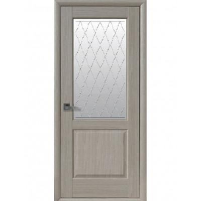 Дверь Маэстра Эпика ясень new со стеклом сатин и рисунком Р2