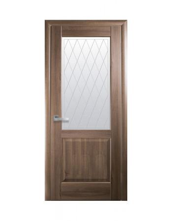 Дверь Маэстра Эпика капучино со стеклом сатин и рисунком Р2