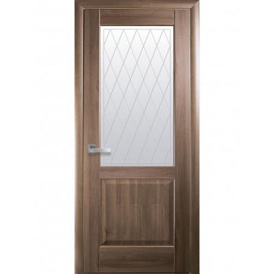 Дверь Маэстра Эпика золотая ольха со стеклом сатин и рисунком Р2