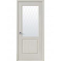 Двері Маестра Эпика патина сіра зі склом сатин і малюнком Р2