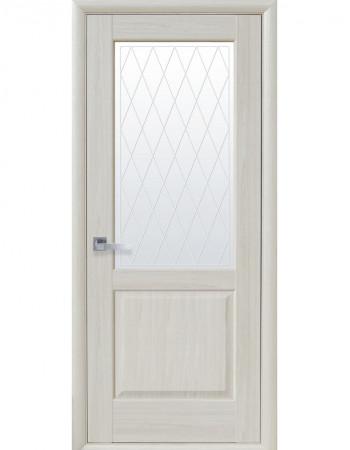 Дверь Маэстра Эпика патина серая со стеклом сатин и рисунком Р2