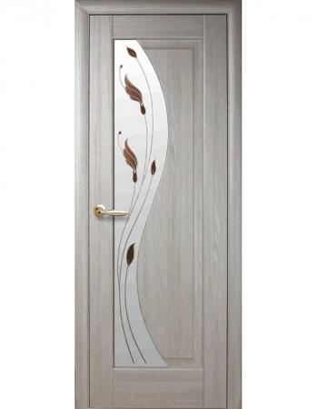 Дверь Маэстра Эскада ясень new со стеклом сатин и рисунком Р1