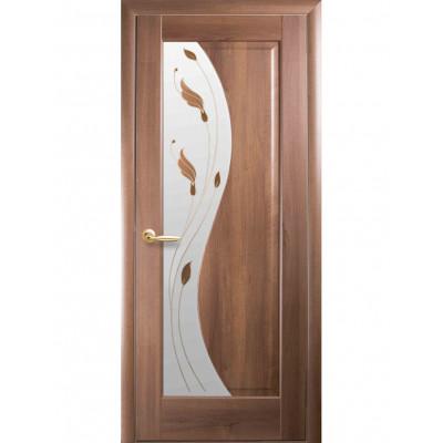 Дверь Маэстра Эскада золотая ольха со стеклом сатин и рисунком Р1