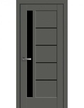 Дверь Ностра Грета антрацит с черным стеклом