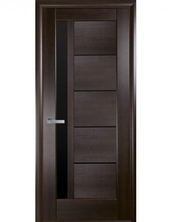 Дверь Ностра Грета каштан с черным стеклом