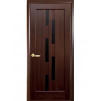 Двері Ностра Лаура каштан з чорним склом