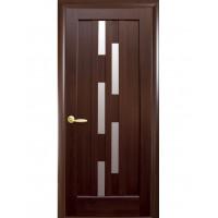 Двері Ностра Лаура каштан зі склом сатин