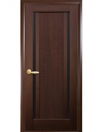 Дверь Ностра Луиза каштан с черным стеклом