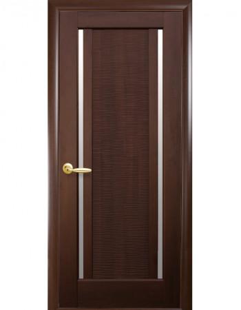 Дверь Ностра Луиза каштан со стеклом сатин