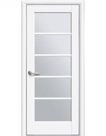 Дверь Ностра Муза белый матовый со стеклом сатин