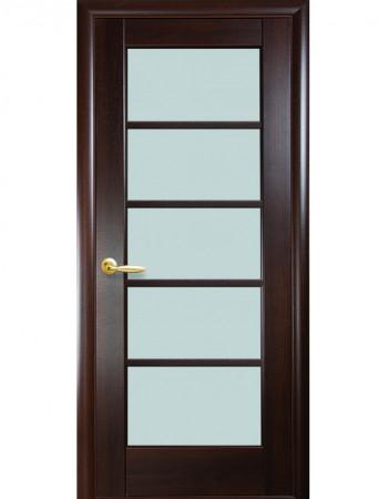 Дверь Ностра Муза каштан со стеклом сатин