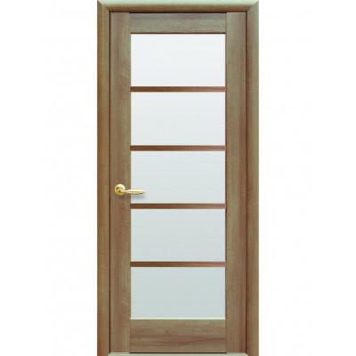 Дверь Ностра Муза золотая ольха со стеклом сатин