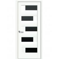Двері Ностра Пиана білий матовий з чорним склом
