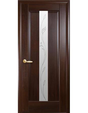 Дверь Маэстра Премьера каштан со стеклом сатин и рисунком Р2