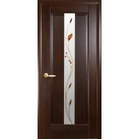 Двері Маестра Премьера каштан зі склом сатин і малюнком Р1