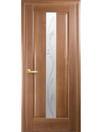 Дверь Маэстра Премьера золотая ольха со стеклом сатин и рисунком P2