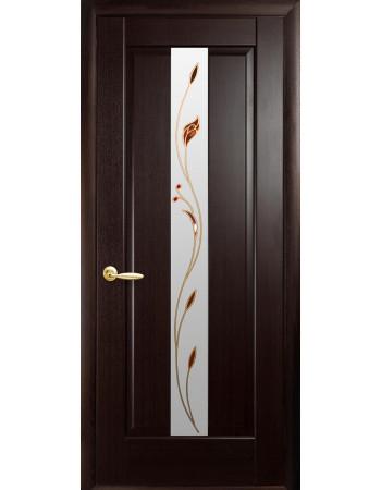 Дверь Маэстра Премьера венге new со стеклом сатин и рисунком P1