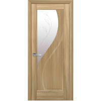 Двері Маестра Прима золотий дуб зі склом сатин і малюнком Р2