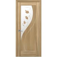 Двері Маестра Прима золотий дуб зі склом сатин і малюнком Р1