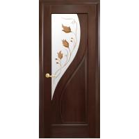 Двері Маестра Прима каштан зі склом сатин і малюнком Р1