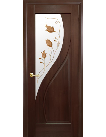 Дверь Маэстра Прима каштан со стеклом сатин и рисунком Р1