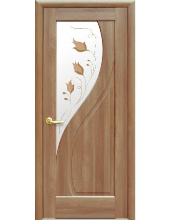 Дверь Маэстра Прима золотая ольха со стеклом сатин и рисунком Р1