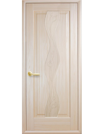 Дверь Маэстра Волна ясень new глухая с гравировкой