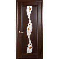 Двері Маестра Волна каштан зі склом сатин і малюнком Р1