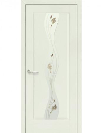 Дверь Маэстра Волна патина со стеклом сатин и рисунком Р1