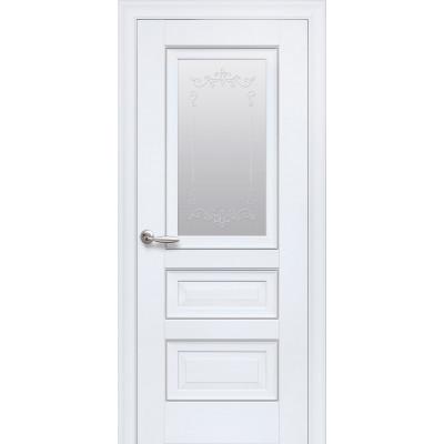 Дверь Элегант Статус белый матовый со стеклом сатин и молдингом с рисунком Р2