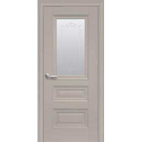 Двері Елегант Статус капучино зі склом сатин і молдингом з малюнком Р2