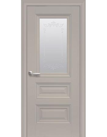 Дверь Элегант Статус капучино cо стеклом сатин и молдингом с рисунком Р2