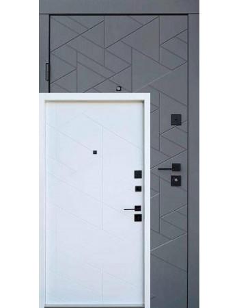 Вхідні двері QDOORS серія Ультра модель Фрост грифель структури софт / біле дерево