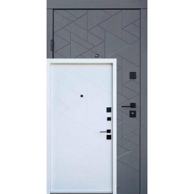 Входная дверь QDOORS серия Ультра модель Фрост грифель структуры софт/белое дерево