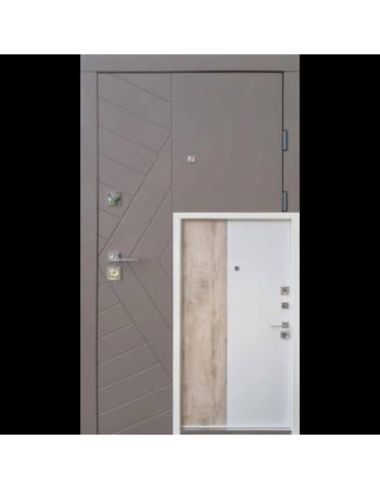 Входная дверь QDOORS серия Ультра модель Корса-М Карамельное дерево софт/белая эмаль