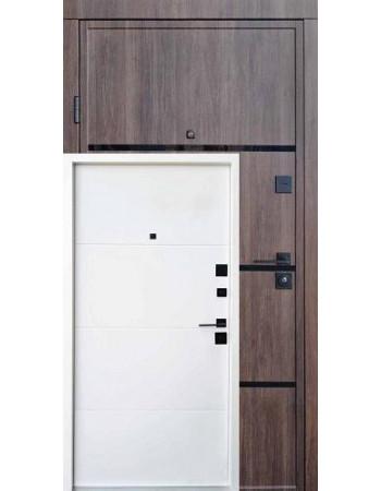 Входная дверь QDOORS серия Ультра модель Аккорд-Ac Дуб табак / белое дерево