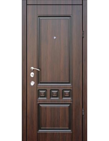 Двери входные Троя Т-11 темный орех + Патина