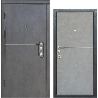 Двери входные Горизонт Элит Бежевый тёмный бетон/бежевый бетон с узким молдингом